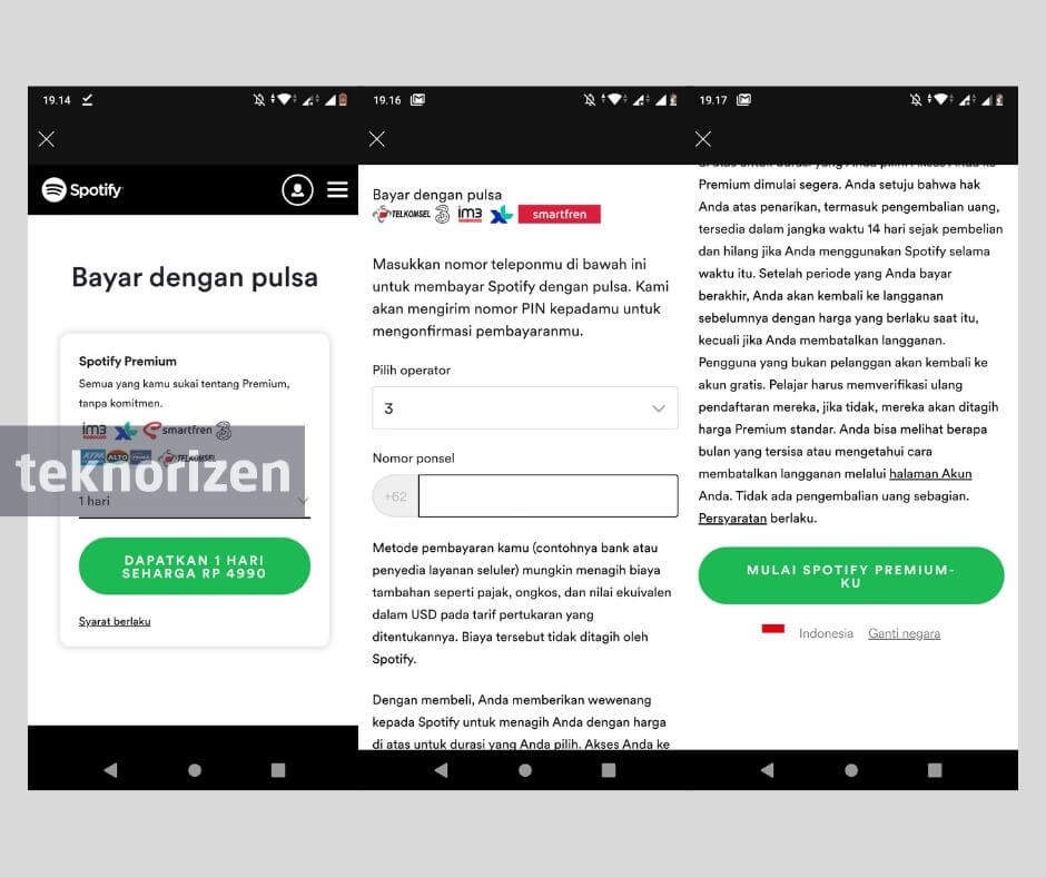 Cara Bayar Spotify Dengan Pulsa Telkomsel Xl Indosat Teknorizen