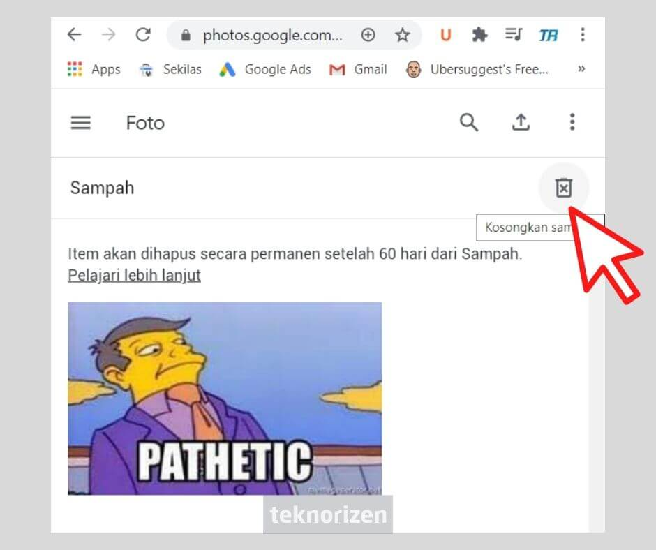 cara menghapus foto di akun google
